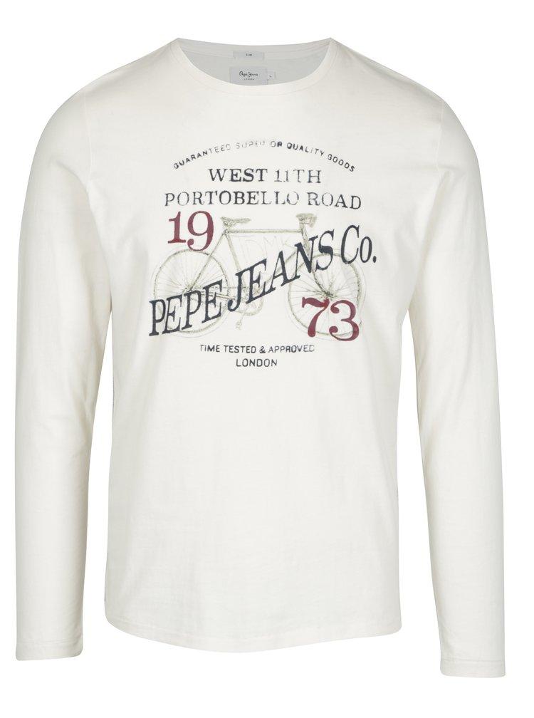 Krémové pánské slim tričko s dlouhým rukávem Pepe Jeans AVENUE