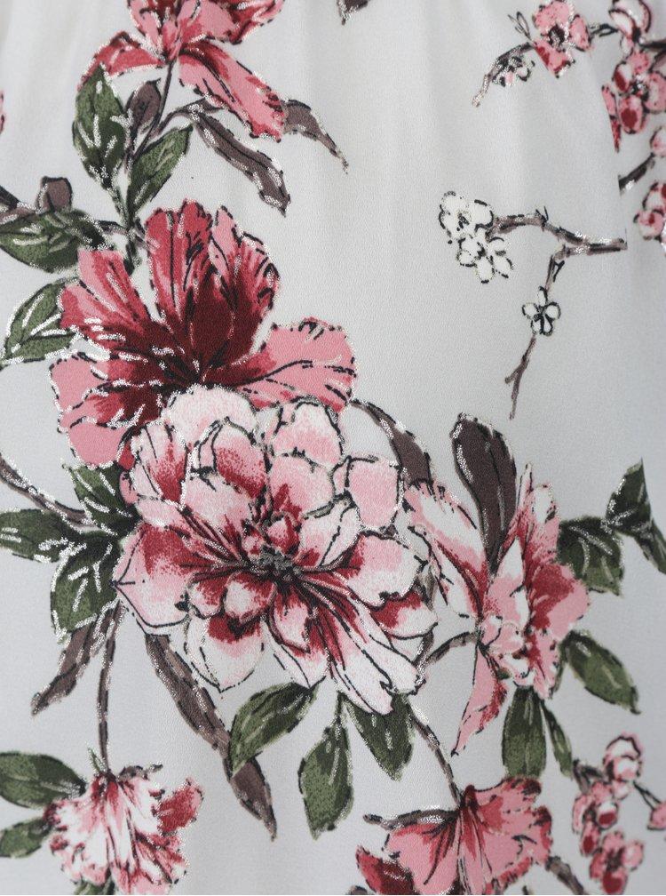 Světle šedá květovaná halenka s odhalenými rameny Dorothy Perkins Petite
