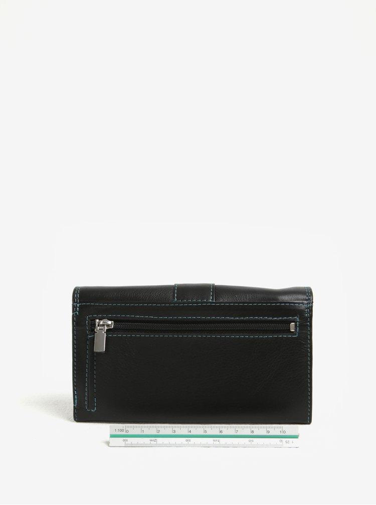 Černá dámská kožená prošívaná peněženka KARA