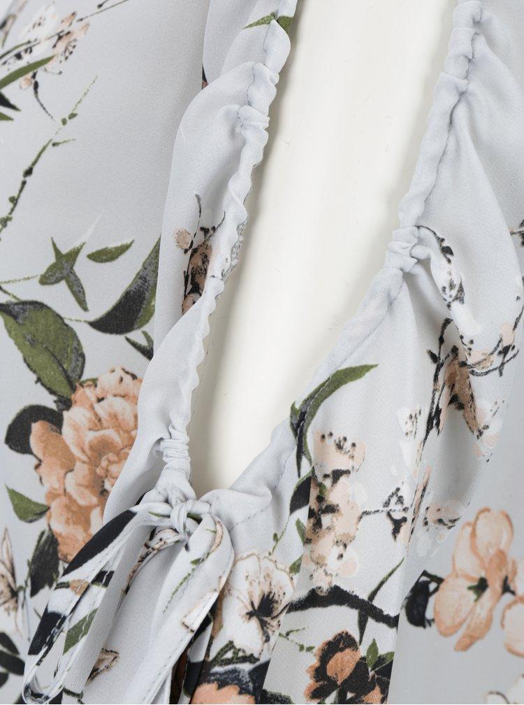 Světle šedá květovaná halenka s průstřihy na rukávech Dorothy Perkins