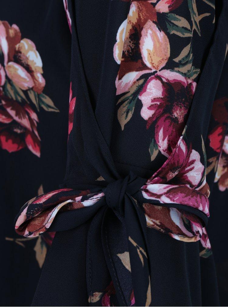 Čierna kvetovaná blúzka so zvonovými rukávmi Dorothy Perkins