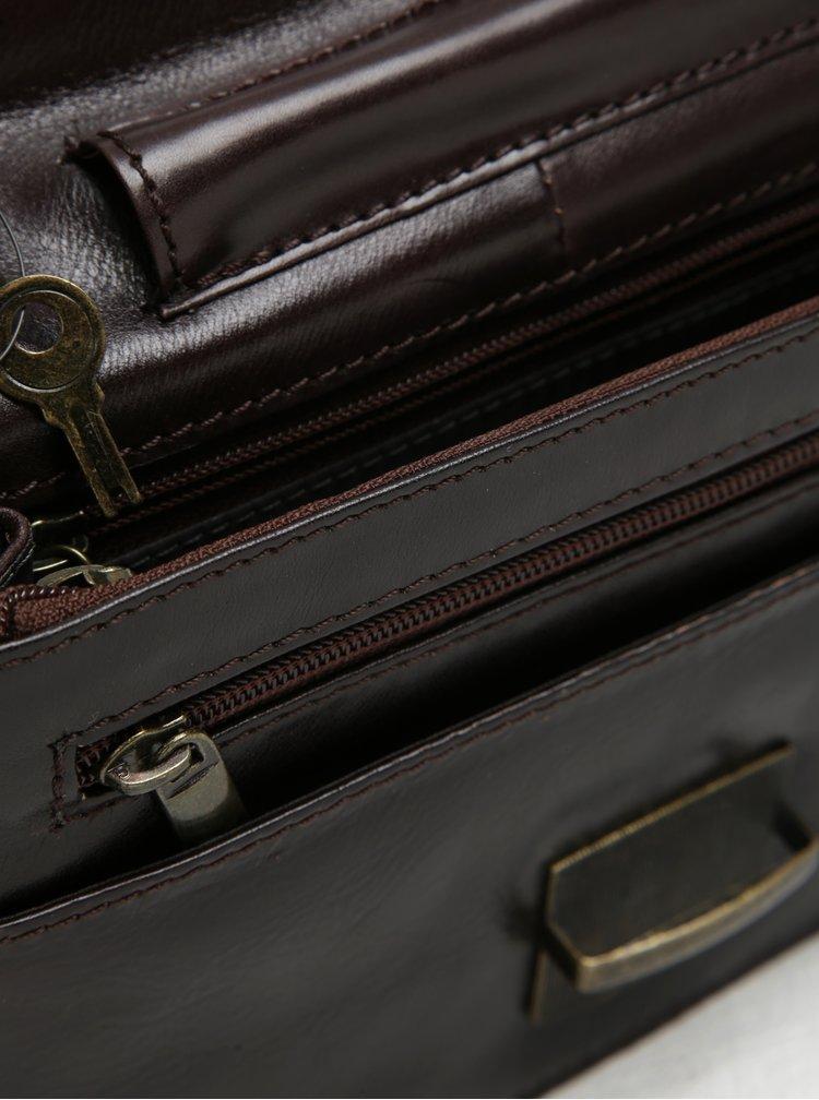 Tmavě hnědé pánské kožené pouzdro na klíček KARA