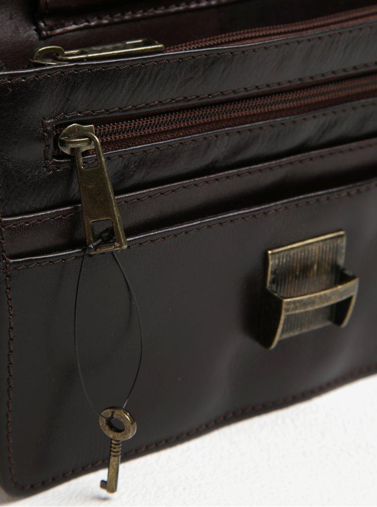 Hnědé pánské kožené pouzdro na klíček KARA