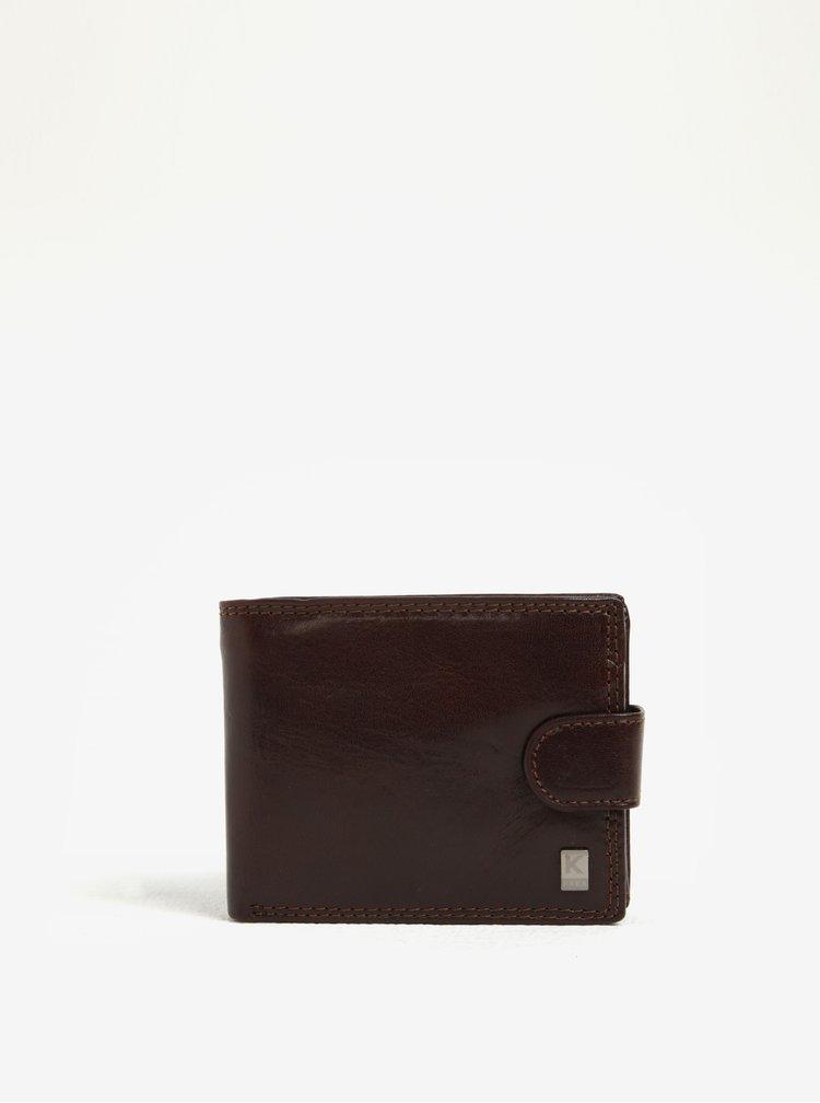 Tmavě hnědá pánská kožená peněženka KARA