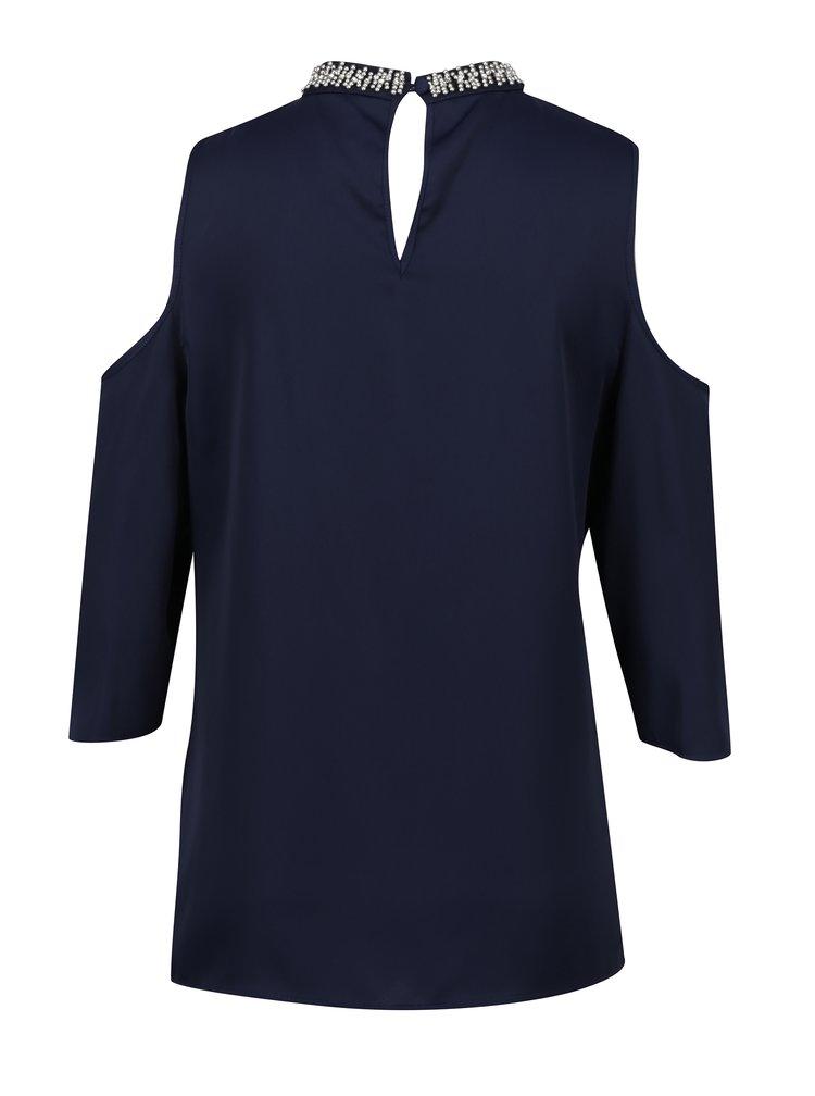 Tmavě modrá halenka s průstřihy na ramenou Dorothy Perkins Tall