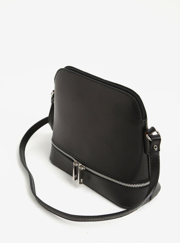 Černá dámská kožená crossbody kabelka KARA
