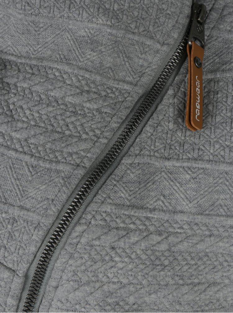 Jacheta gri cu guler inalt si model geometric Ragwear Swing