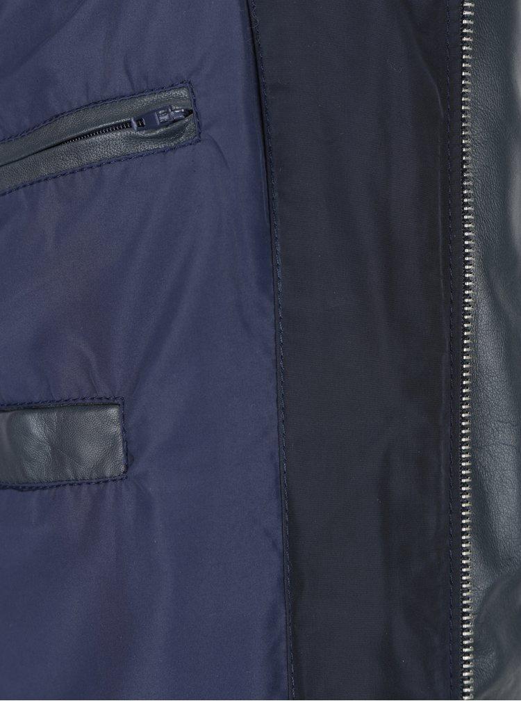 Geaca bleumarin matlasata cu maneci din piele pentru barbati KARA Billy