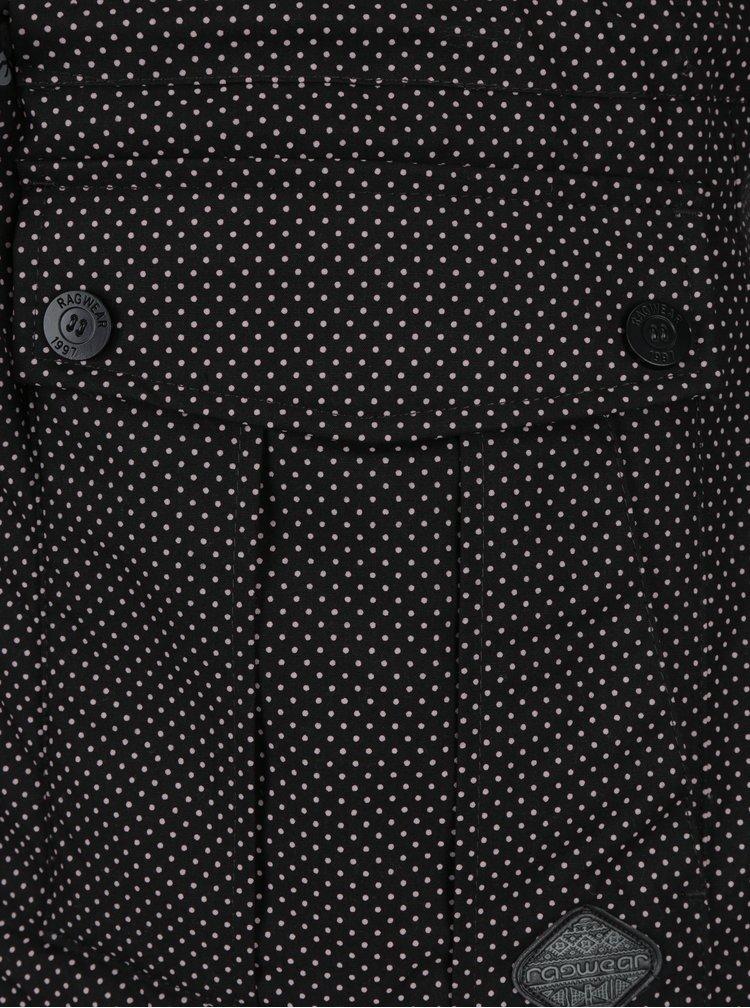 Černá dámská zimní puntíkovaná parka Ragwear Laika Minidots