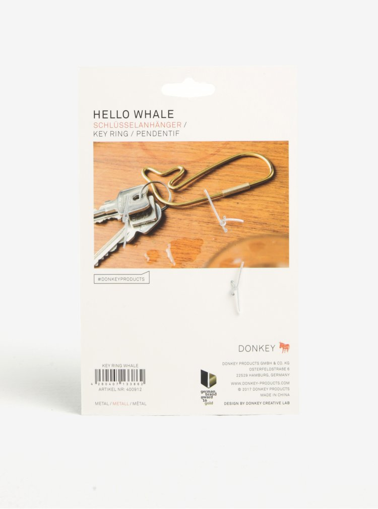Breoc metalic auriu in forma de balena Donkey Hello Whale