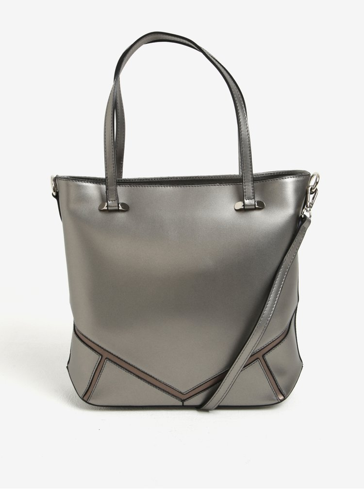 Šedá kožená dámská metalická kabelka do ruky/crossbody kabelka KARA