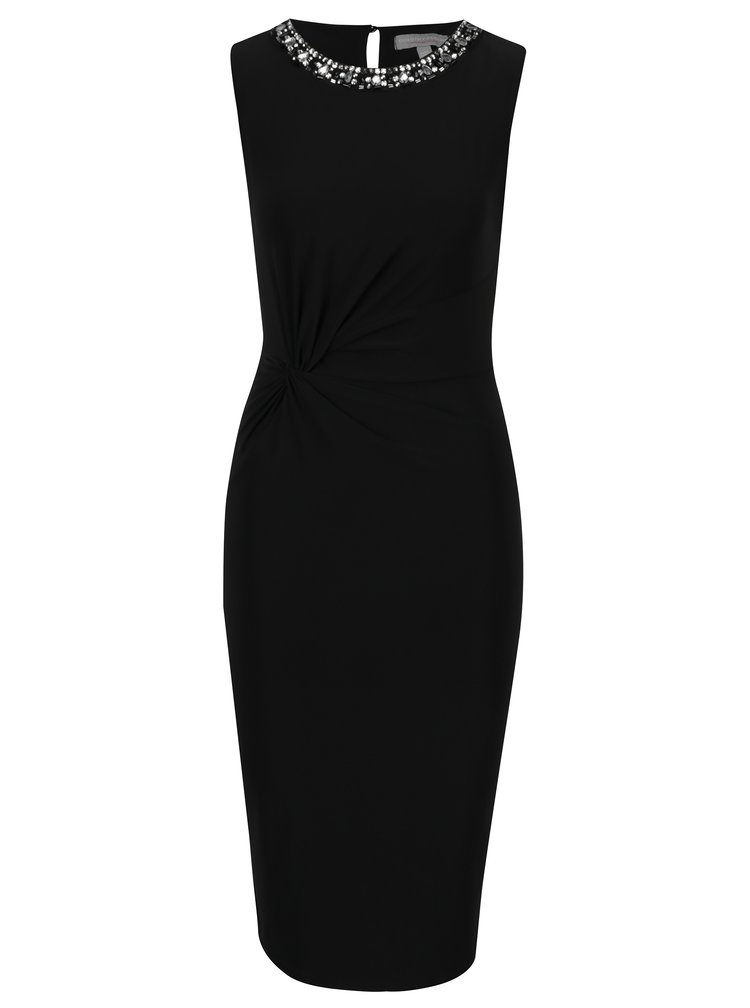 Černé pouzdrové šaty s ozdobou kolem krku Dorothy Perkins Petite