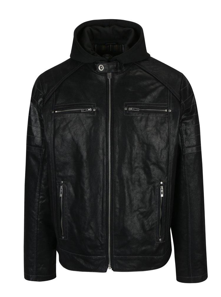 Jacheta neagra din piele cu gluga pentru barbati KARA Dorian