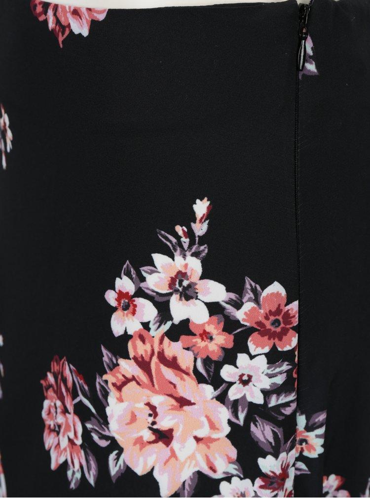 Černá květovaná asymetrická sukně Dorothy Perkins