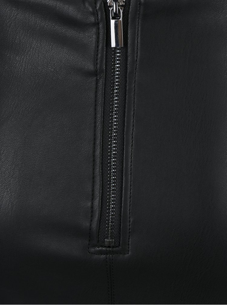 Fusta creion midi neagra din piele sintetica Dorothy Perkins Tall