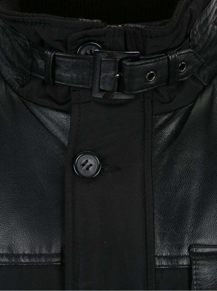 Černá pánská kožená bunda KARA Ozoir