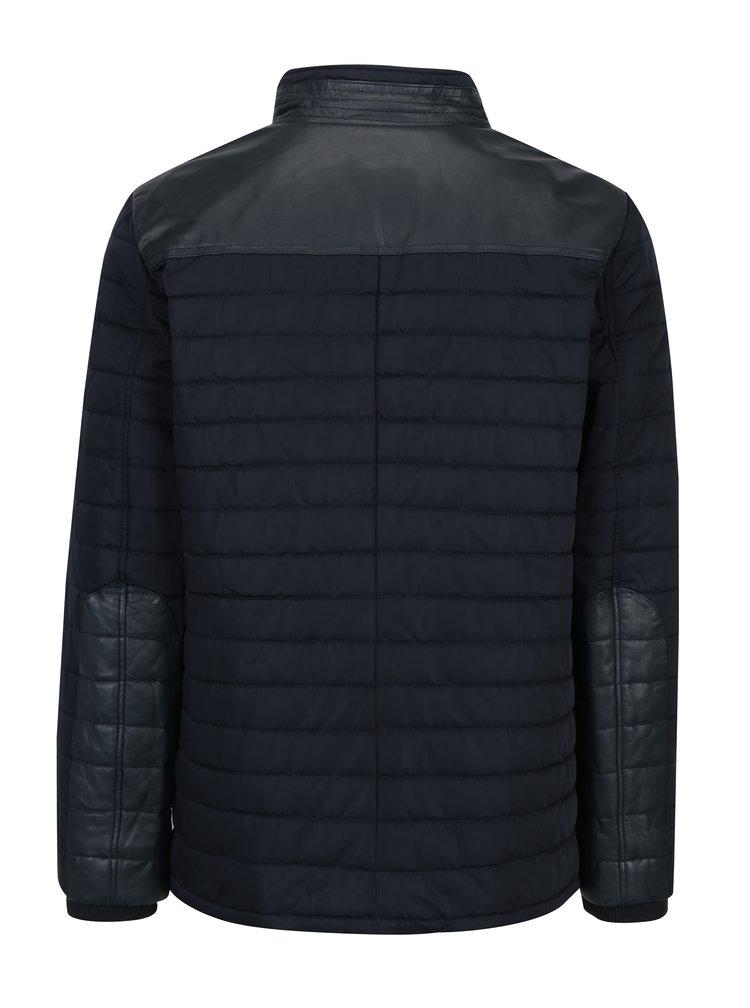 Jacheta bleumarin matlasata cu insertii din piele pentru barbati KARA Ozoir