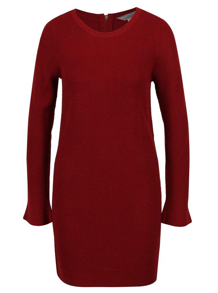 Červené svetrové šaty s dlouhým rukávem Dorothy Perkins Petite