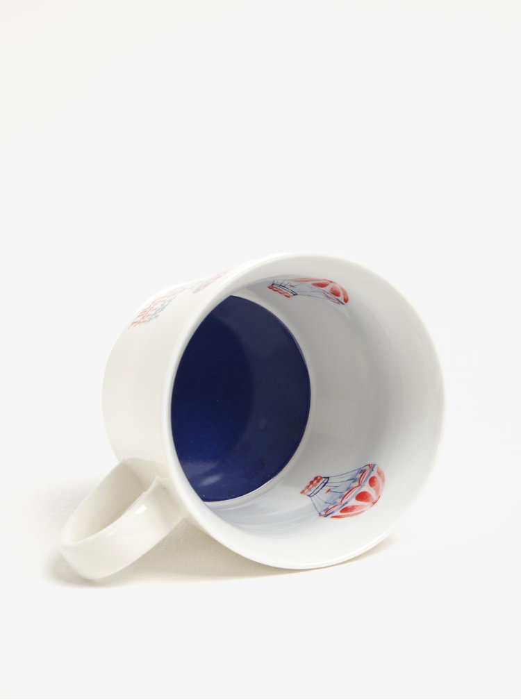 Cana albastru & rosu & alb cu print interior & exterior Cooksmart