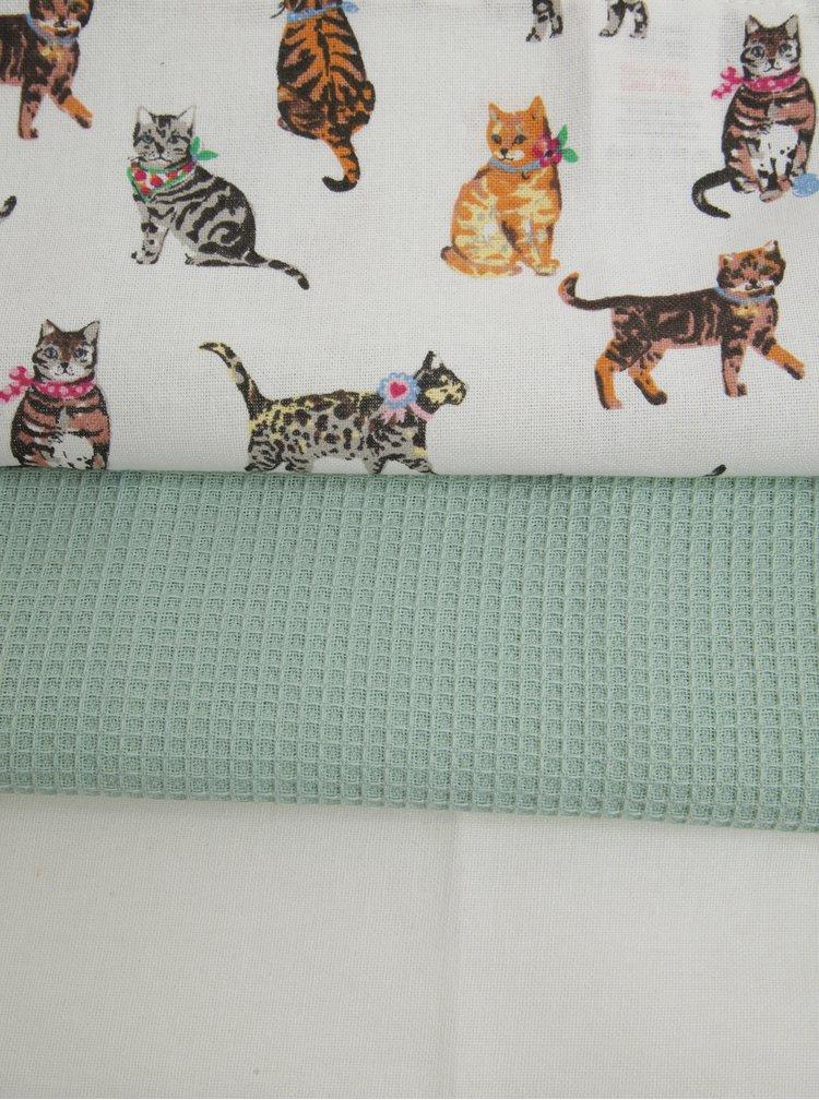 Sada tří zeleno-krémových utěrek s motivem koček Cooksmart