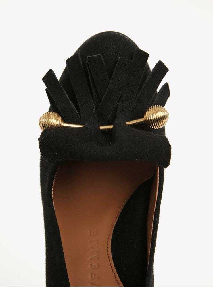 Černé semišové lodičky na podpatku s třásněmi Selected Femme Mel