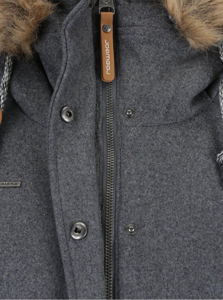 Šedá dámská zimní bunda s umělým kožíškem Ragwear Winny