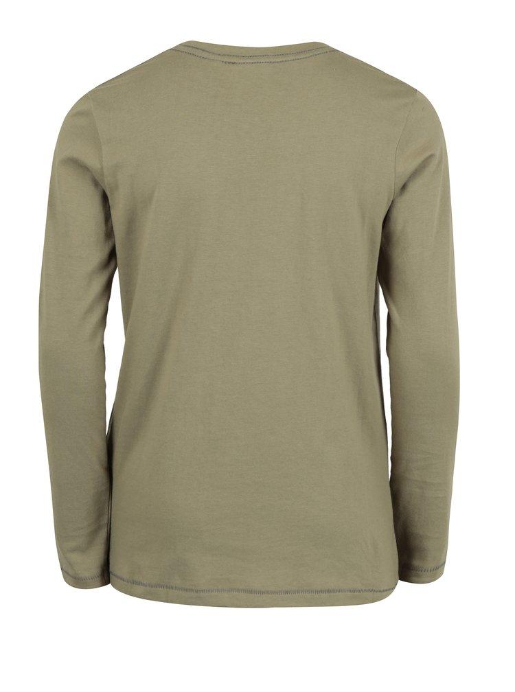 Khaki klučičí tričko s potiskem a dlouhým rukávem Blue Seven