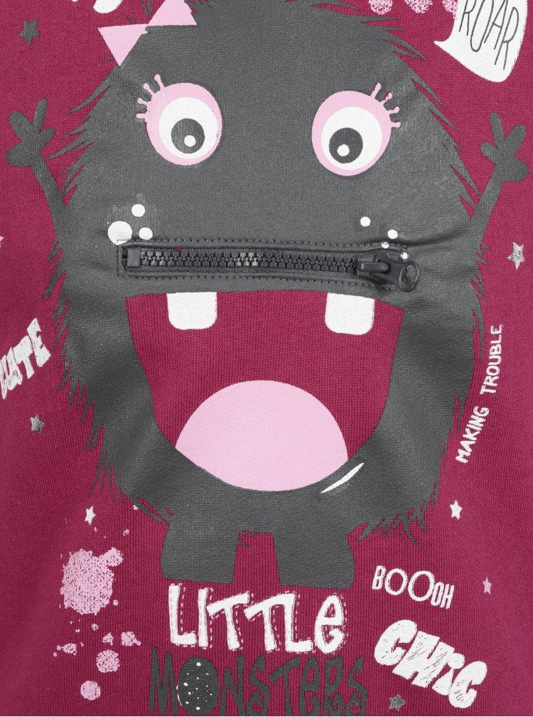 Tmavě růžová holčičí mikina s kapsou  Blue Seven