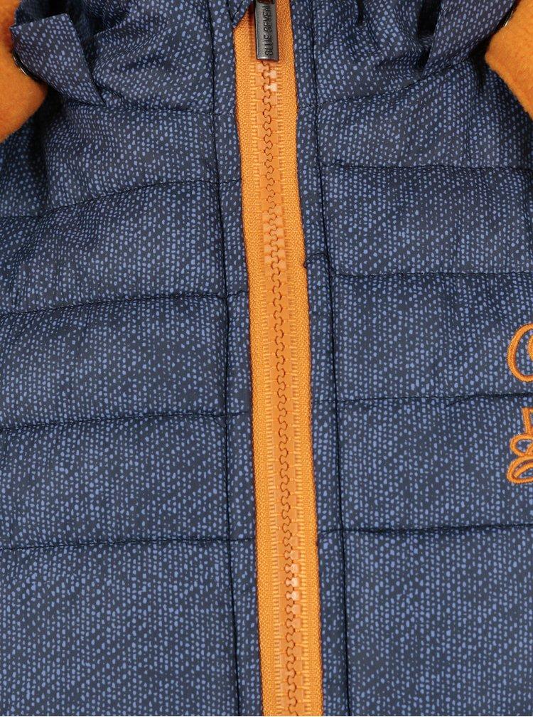 Tmavě modrá klučičí zimní prošívaná bunda s kapucí Blue Seven