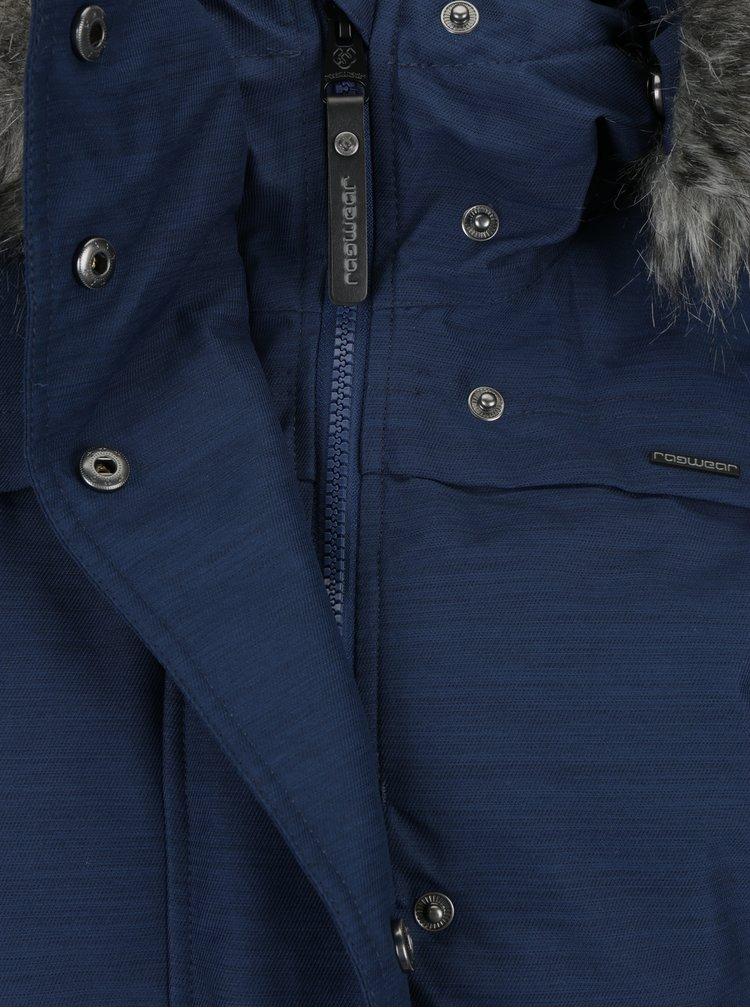 Modrá dámská zimní voděodolná bunda s umělým kožíškem Ragwear Wooki