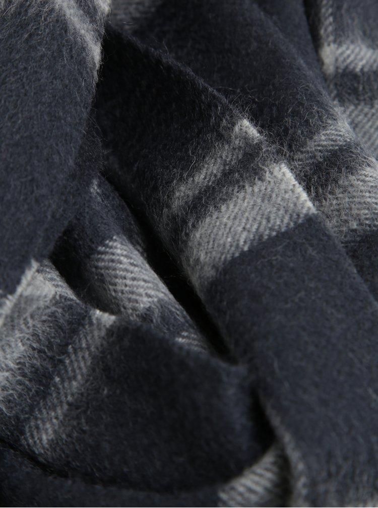 Tmavě šedá vlněná vzorovaná šála Selected Homme Tope