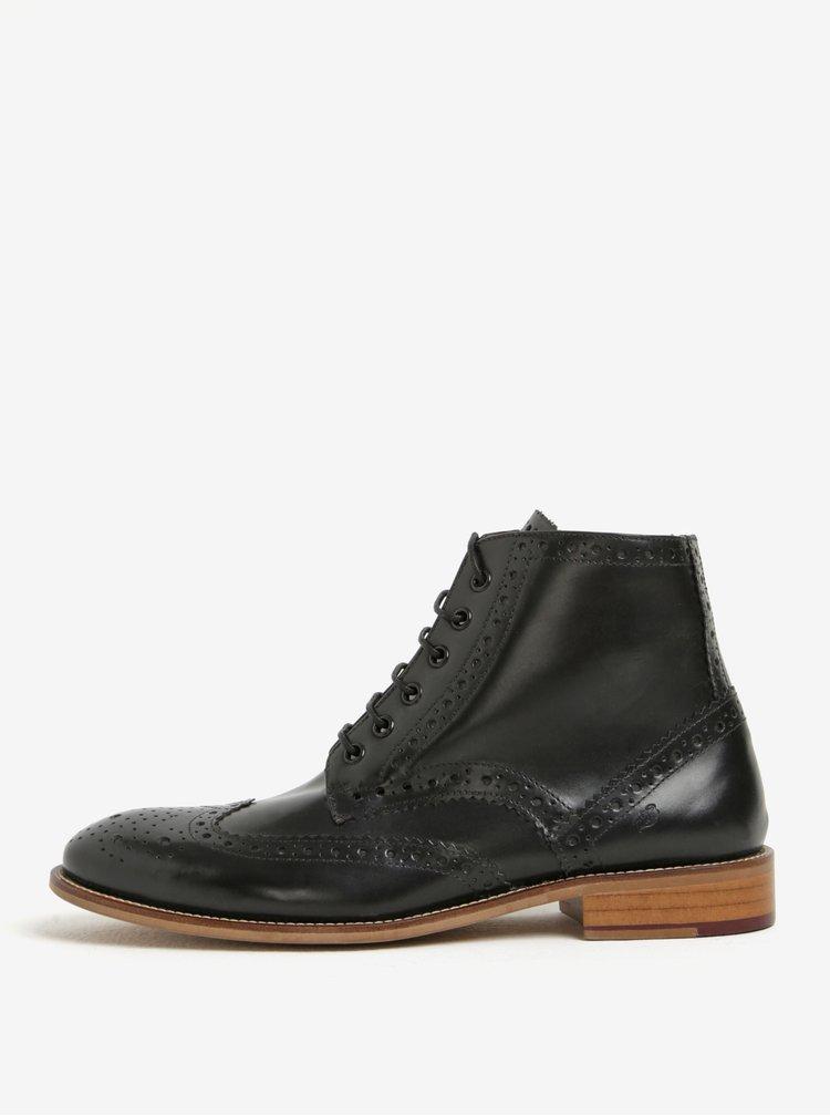 Černé pánské kožené kotníkové brogue boty London Brogues Gatsby High