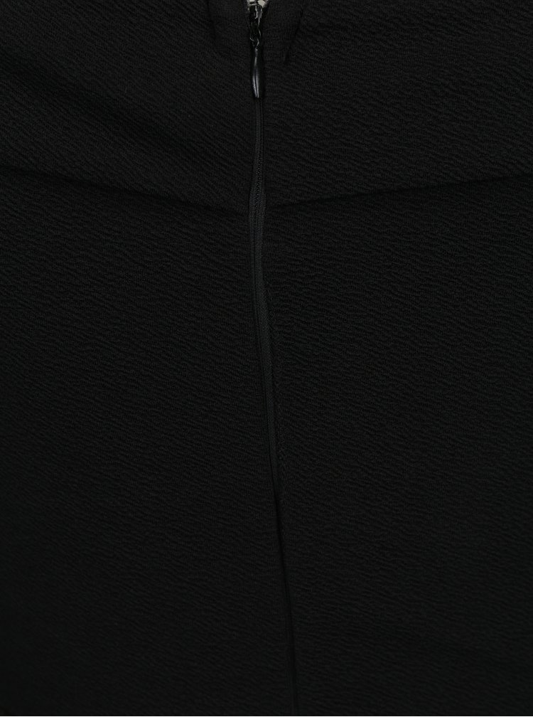 Rochie neagra cu umeri expusi si maneci clopot cu volane 3/4 AX Paris