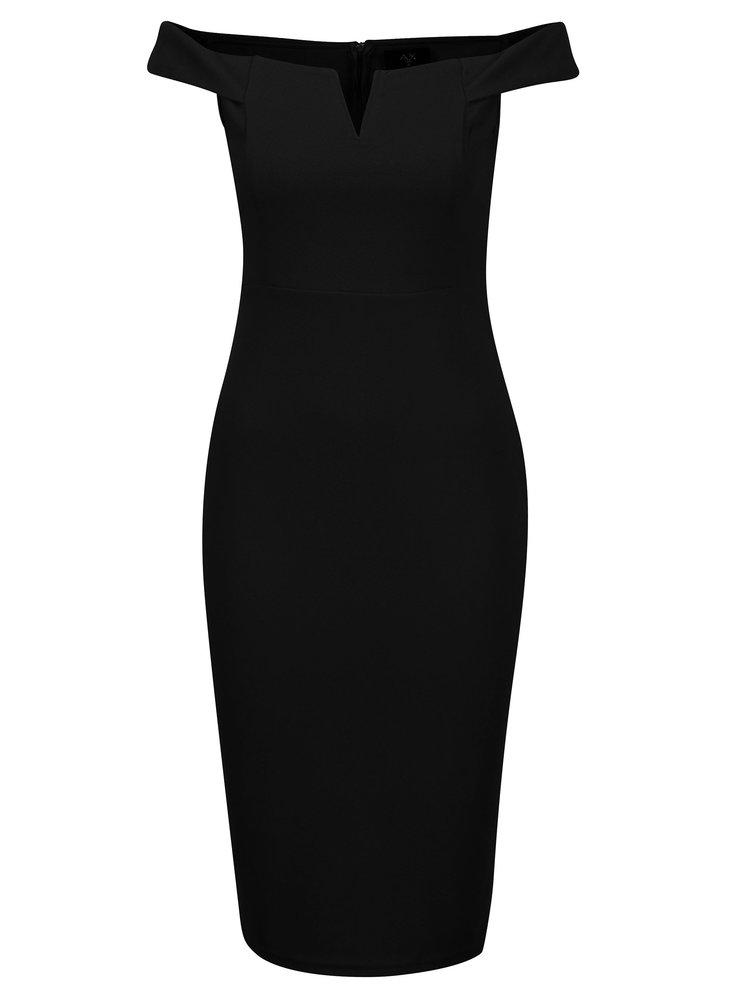 Černé pouzdrové šaty s odhalenými rameny AX Paris