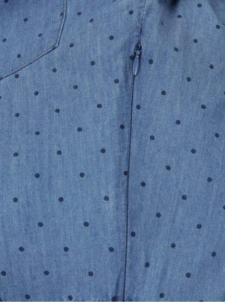 Modré puntíkované džínové košilové šaty Pepe Jeans Tasia