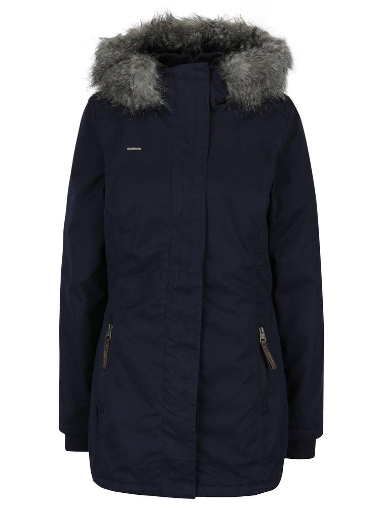 Tmavě modrá dámská zimní bunda s umělým kožíškem Ragwear Break Long