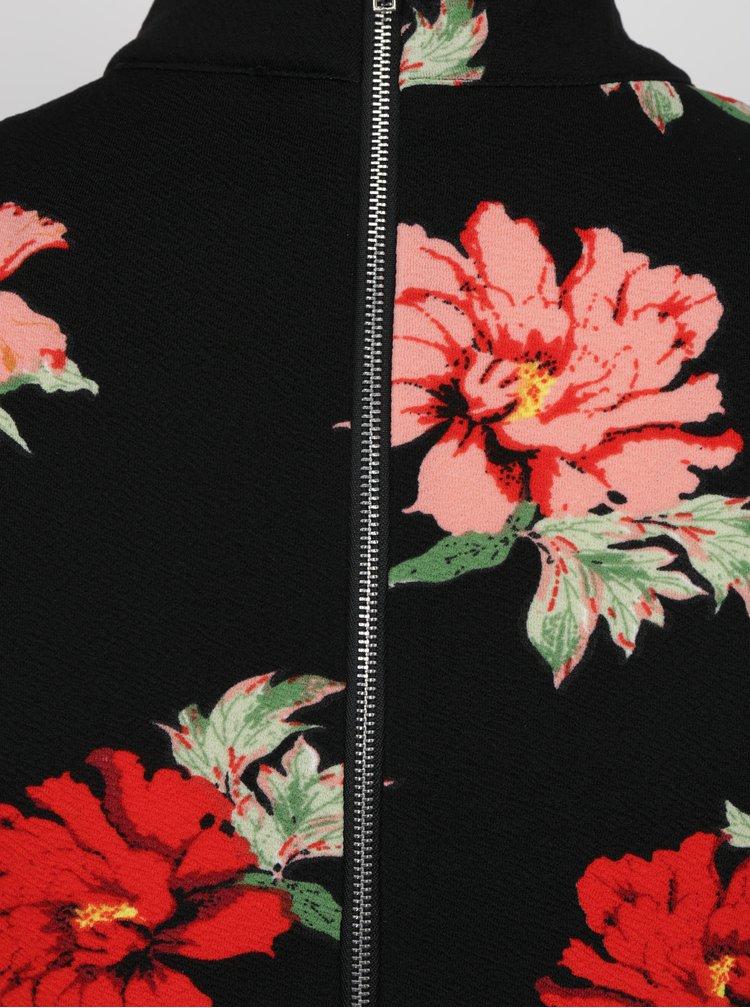 Červeno-černé květované minišaty se stojáčkem AX Paris