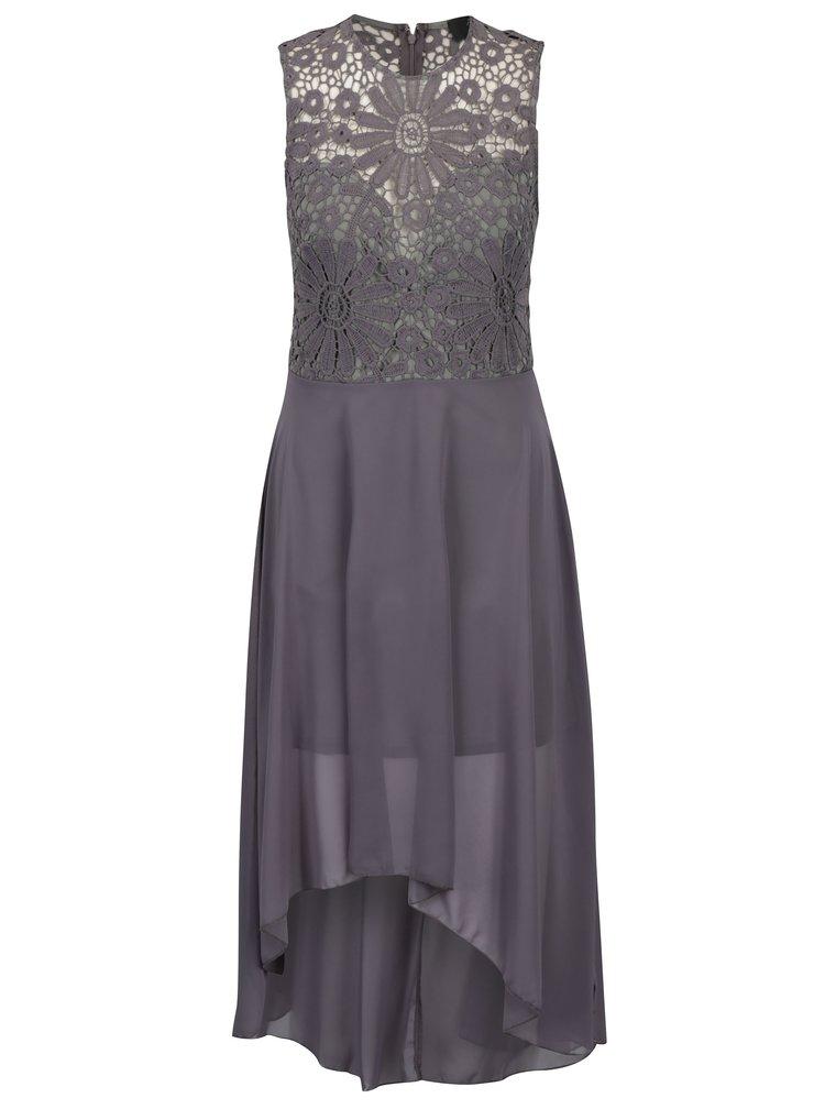 Šedé šaty s krajkovým topem AX Paris