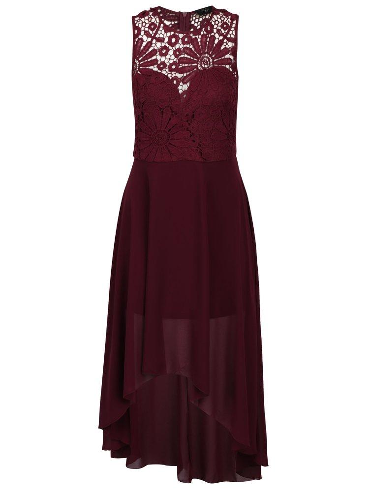 Vínové šaty s krajkovým topem AX Paris