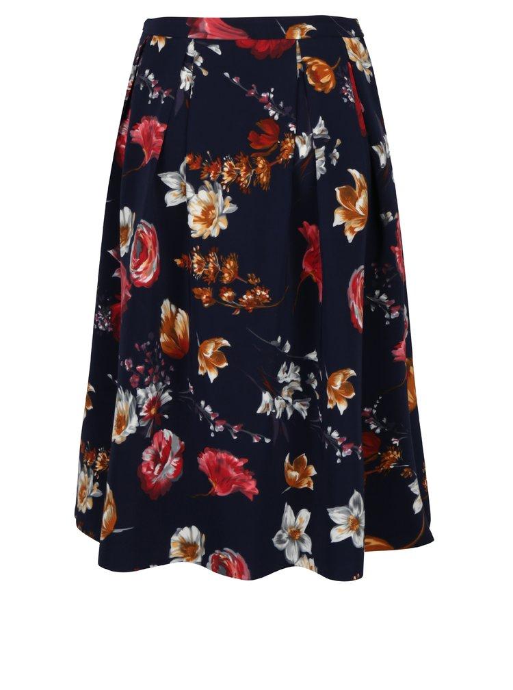 Tmavě modrá květovaná sukně Fever London Elodie