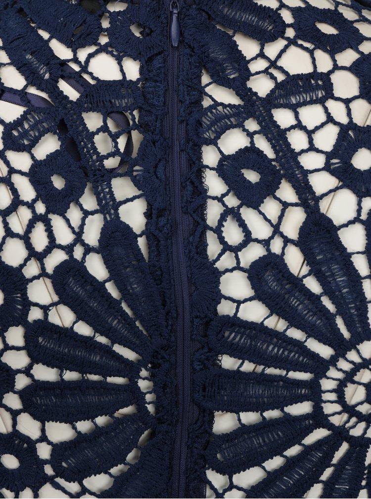 Tmavě modré šaty s krajkovým topem AX Paris