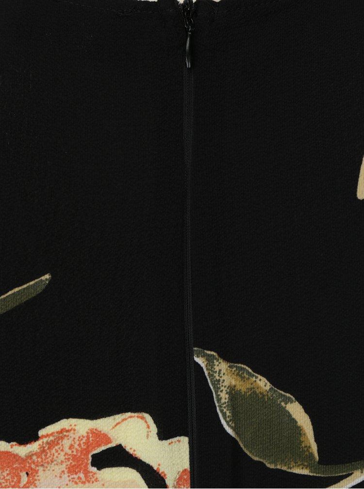 Černé květované maxišaty s překládaným výstřihem AX Paris
