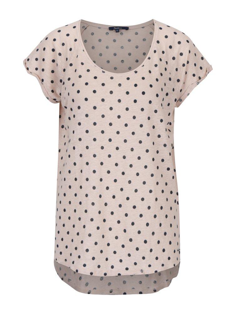 Tricou din in roz deschis cu buline - Pepe Jeans Michelle