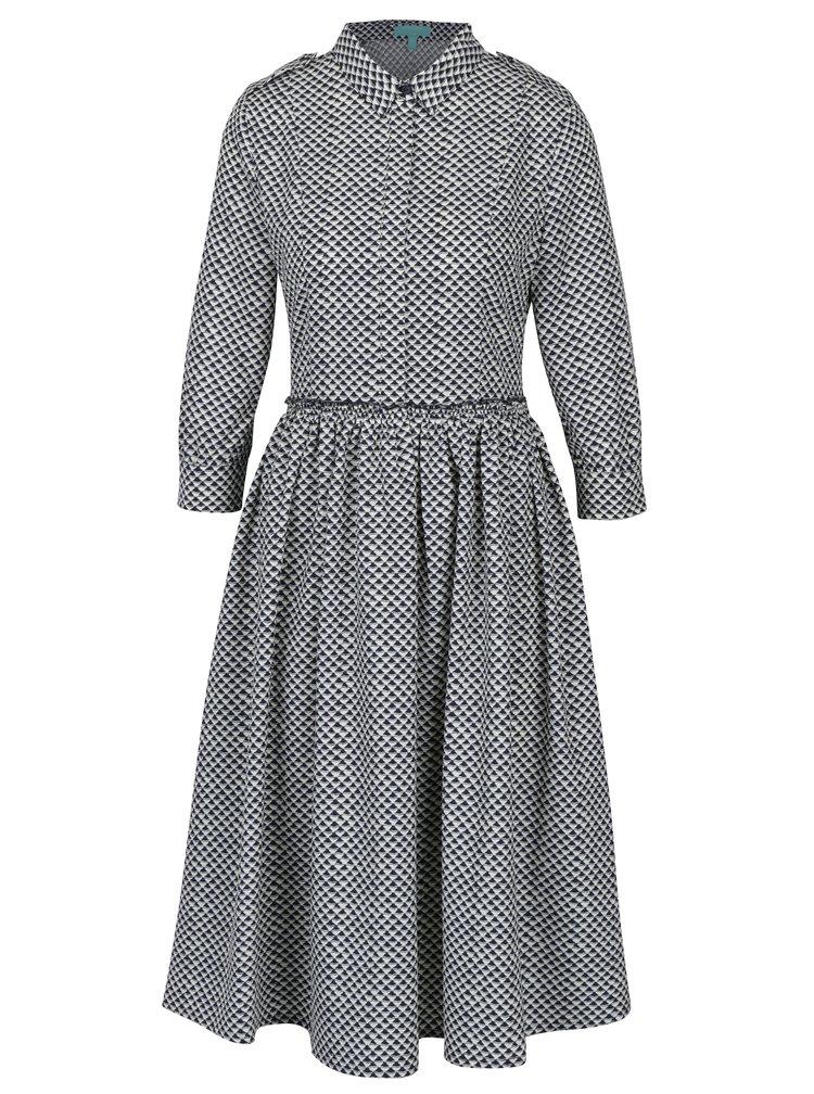 Modro-bílé vzorované šaty s 3/4 rukávy Fever London Monaco