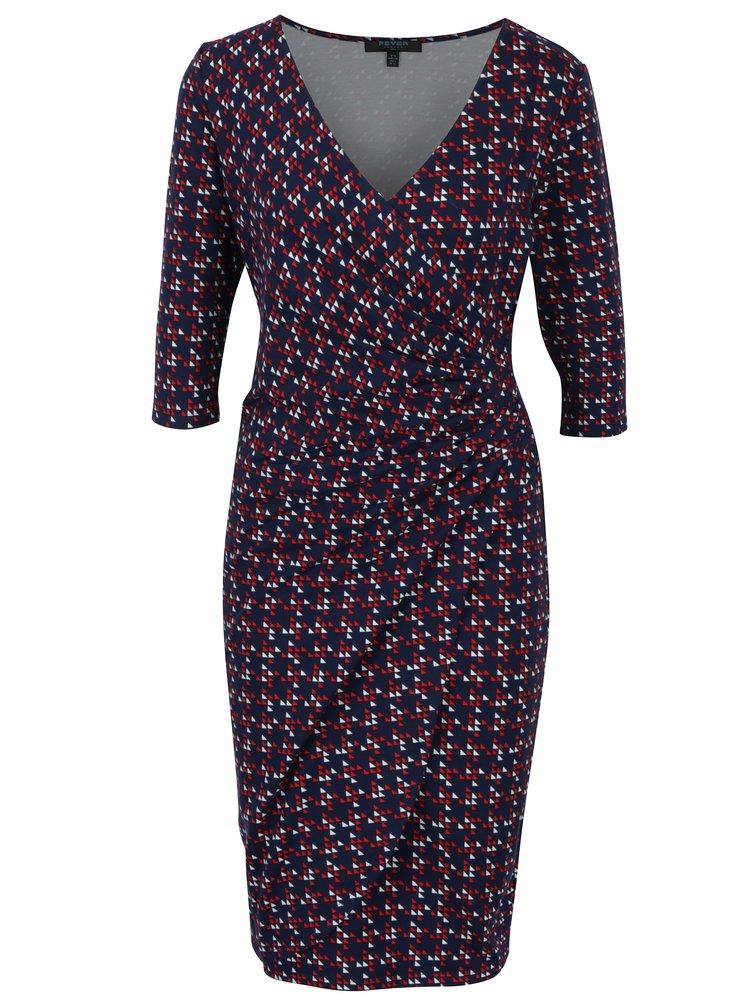 Tmavě modré pouzdrové vzorované šaty s překládaným výstřihem Fever London Lennox