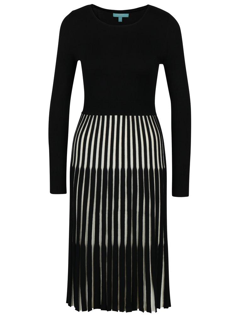 Černé šaty s pruhovanou sukní Fever London Lewes