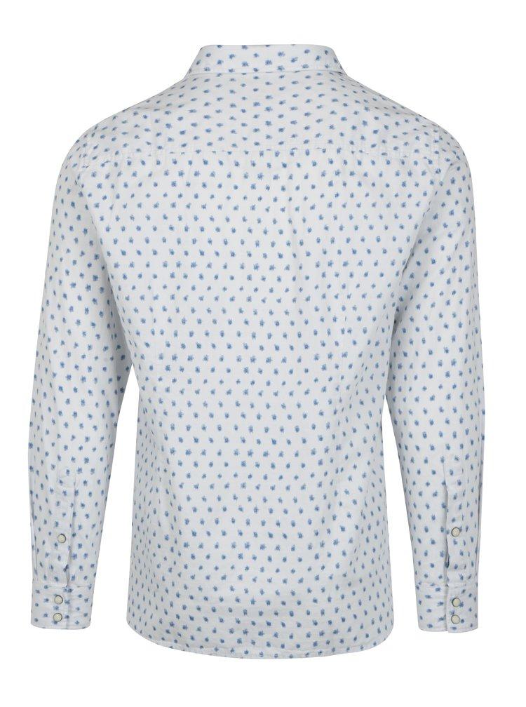 Camasa albastru & alb slim cu maneci lungi si print s.Oliver