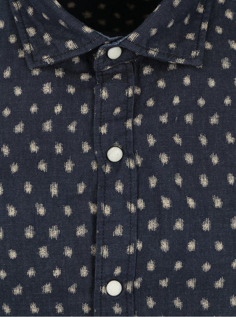 Tmavě modrá pánská vzorovaná slim košile s dlouhým rukávem s.Oliver