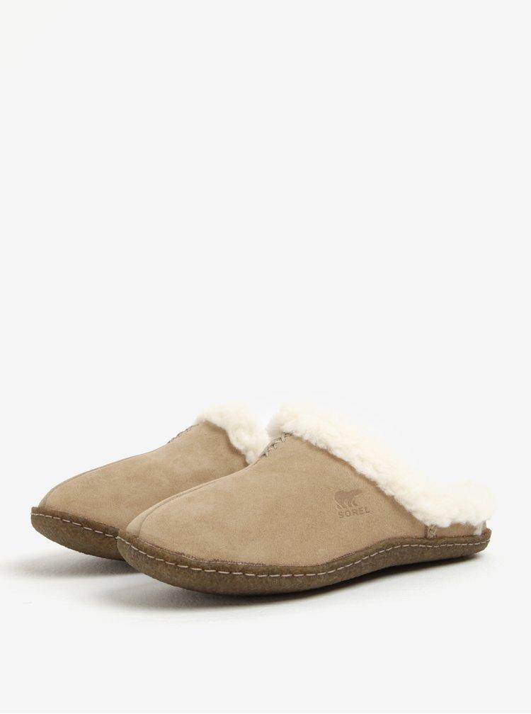 Béžové dámské semišové papuče s umělým kožíškem SOREL