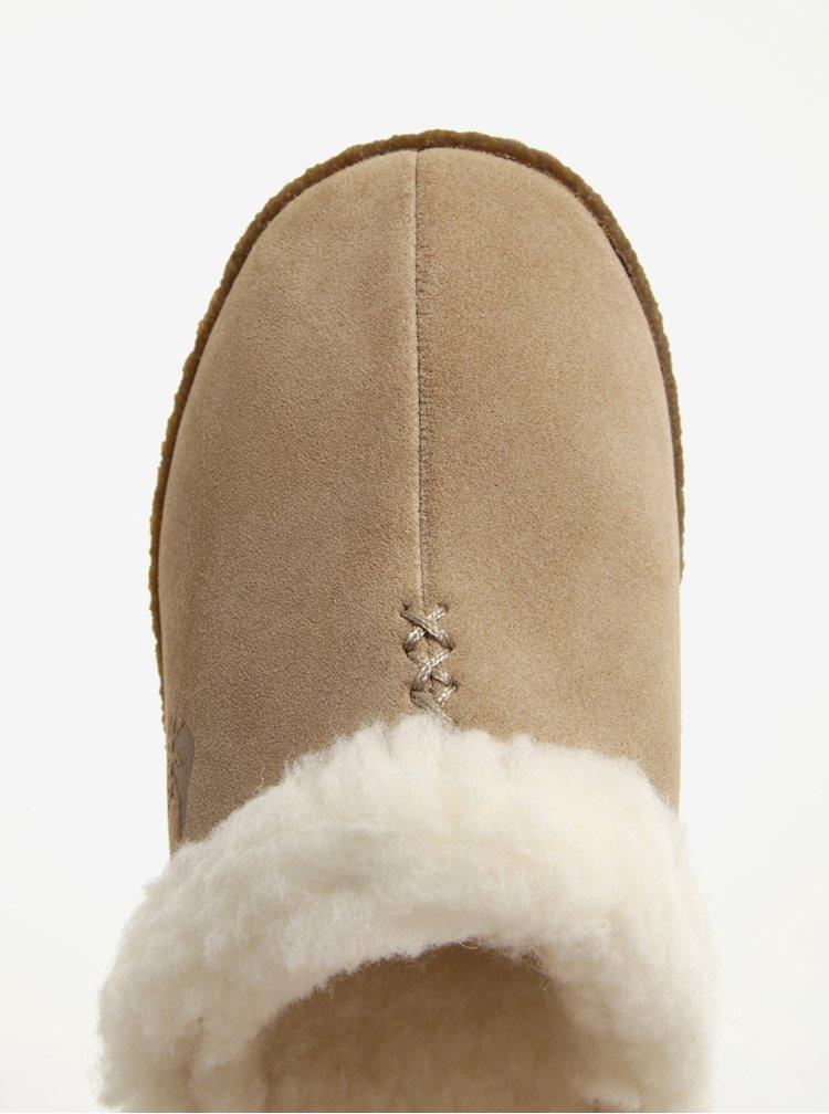 Papuci din piele intoarsa bej & crem cu blana artificiala pentru femei - SOREL